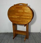 Set 4 Oval Oak Wood Folding Tv Trays Tables + Stand Vintage Rustic Amish Style