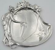 Antique 1900s Germany Rare Original Wmf Art Nouveau Silver Plate Tray Marked