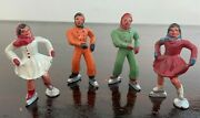 Four Vintage Barclay Ice Skater Lead Minatures, 2 Male And 2 Female Skaters