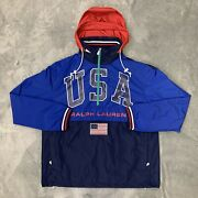 Polo Colorblock Usa Flag Water-repel Pullover Hooded Jacket Size S