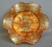 7622 Fenton Panther Dark Pink Infused Marigold Carnival Glass Small Berry Bowl