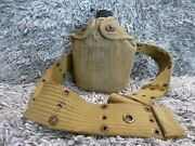World War Ii Ww2 Us Army Canteen Dated 1945 With Cover And Belt
