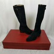 Donald Pliner Tall Black Leather Suede Buckle Riding Boots Boho Hippie Womens 38