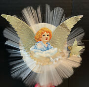 Vintage 1950andrsquos Spun Glass Halo Christmas Angel Tree Topper National Tinsel Co.