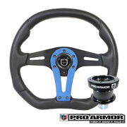 Pro Armor Force Steering Wheel Black W/ Blue Can-am Polaris + Quick Disconnect
