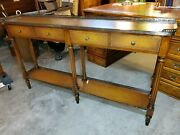 Theodore Alexander Hall Table Console Table - Fluted Legs And Leather Wrapped