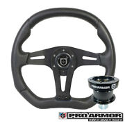 Pro Armor Force Steering Wheel Black W/ Black Can-am Polaris + Quick Disconnect
