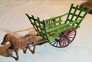 Antique Diecast Painted Metal Horse And Wagon Cart With Wheels Toy Made In France