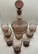 Vintage Mcm Rossini Amethyst Blown Glass Party Barware Decanter With 8 Glasses