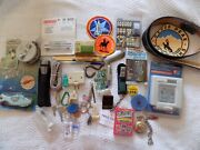 Menand039s Junk Drawer Lot Fly Fishing Reel Patches Pocket Watch Belt And Lots More