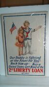 Rare Antique Original 1917 Wwi Daddy Is Fighting 2nd Liberty Loan Poster 6
