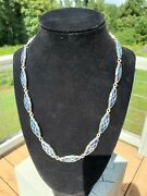 Vintage Tourquoise And Lapis Lazuli Inlay Stone Sterling Silver Mexico Necklace
