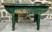 Antique Medium Wood Painted Foot Stool Rustic Farmhouse Country Primitive Bench