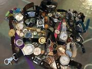 Watch Lot 3 Lbs Timex Fossil Geneva Brookstone + Untested Repair Or Not