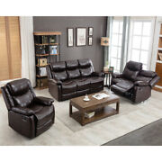 Pu Leather Reclining Living Room Sofa Set Classic Sectional Manual Loveseat Home