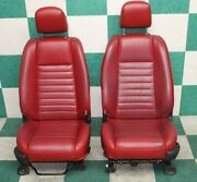 05-09 Mustang Red Leather Power And Manual Bucket Seats Tracks Headrests Hot Rod