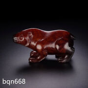 3.5 Rare Qing Dynasty Chinese Antique Red Hetian Jade Natural Bear Beast Statue
