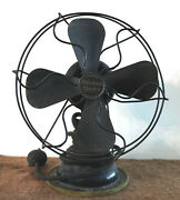 Antique Western Electric 9-inch 4-blade Tabletop Tilting Fan W/cord And Base