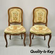Antique French Provincial Louis Xv Walnut Floral Needlepoint Side Chair - A Pair