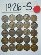 1926-s Cent Half Roll Solid Date = 25 Lincoln Wheat Pennies 8 Ship Free