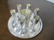 Rare Antique Sterling Silver Tray And Cups Set Polish From Estate 14.1 Oz.