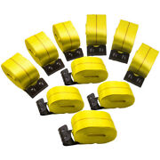 10 Pack 4 X 30' Winch Strap W/ Flat Hook Flatbed 5400lb Trailer Tie Down Straps
