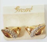 Grosse Germany For Chr.dior Rhinestone Crystals Gold Earrings On Card - Unsigned