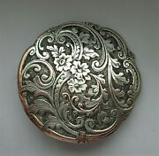Antique Button Silvered Copper 1 And 3/16