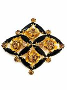 Black And Topaz Rose Gold Toned Unsigned Beauty Estate Vintage Rhinestone Brooch