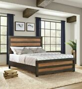Rustic Reclaimed Wood Two-tone King Bed Bedroom Furniture
