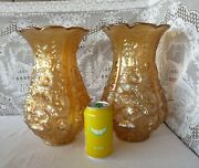 Imperial Carnival Glass Poppy Show Vases 488 Iridescent Pastel Marigold