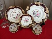 Hicks, Meigh And Johnson, England C.1800's - 5pc Display Set Hand Painted Flowers