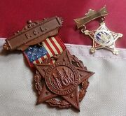 Lot Of 2 Civil War Ladies Of The Grand Army Of The Republic Medals F.c.l. 14kt.