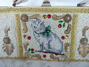 Caron Of Houston Texas Hand Bag Purse Needlepoint Cat Plus Sequins 1950and039s Rare
