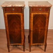 1900s Antique French Louis Xv Walnut And Satinwood Marble Top Pair Lingerie Chest