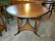 Theodore Alexander Round Leather Top Center Table W/ Brass Rail