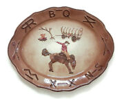California Pottery Platter W/branding Iron And Bucking Bronco Rodeo Serving Tray