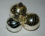 3 Old German Christmas Kugel Ornamentsmouth Blown.yellow/green Filament Glass