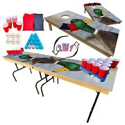 2-in-1 Cornhole And Beer Pong Table Set -close Up Duck Tailgate Party Set