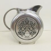 Wilton Armetale Pewter Pitcher Round Ball Water Half Gallon Embossed Urn Grapes