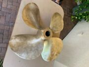 Propeller From 59and039 Boat 31.5 Inches X 35 Pitch Bronze 4 Blade Rh Nibral