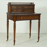 French Mahogany And Burl Writing Desk With Genuine Brown Leather Top