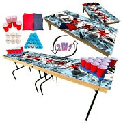 2-in-1 Cornhole And Beer Pong Table Set -illinois State Flag Tailgate Party Set