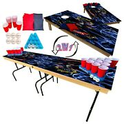 2-in-1 Cornhole And Beer Pong Table Set -north Dakaotstate Flag Tailgate Party Set
