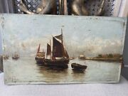 19th Century Antique Marine Oil Painting On Board Ship Close To The Coast Line