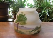 Vintage Hand Painted 1930s Glass Lamp Shade W Landscape - 3 Fitter Art Deco