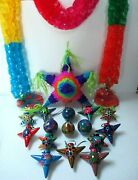 Mexican Pottery Christmas Tree Ornament Set Cut Paper Garland Tree Topper