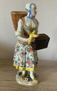 Antique 19th Original Meissen Figurine Peasant Woman With A Bird Cage Marked