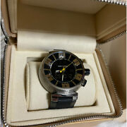 Louis Vuitton Tambour In Black Q118f Chronograph Watch Quartz With Box And Papers