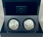 2021 American Silver Eagle Type 1 And 2 Set In A Us Mint Display Case Nice Gift A